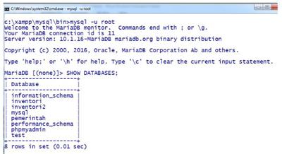 Gb. 4 Melihat isi Database menggunakan User Root