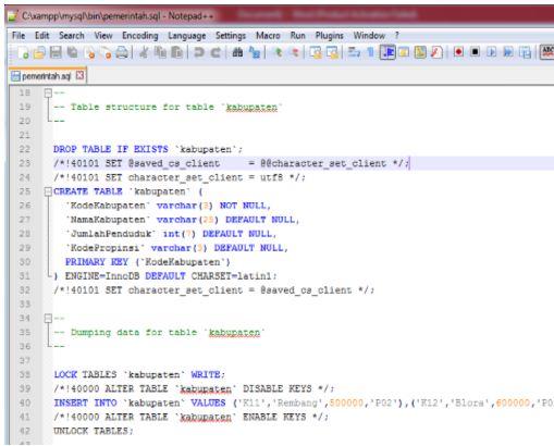 Gb. 4 File pemerintah.sql di notepad ++