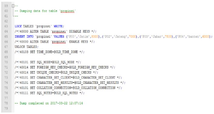 Gb. 6 File pemerintah.sql di notepad ++